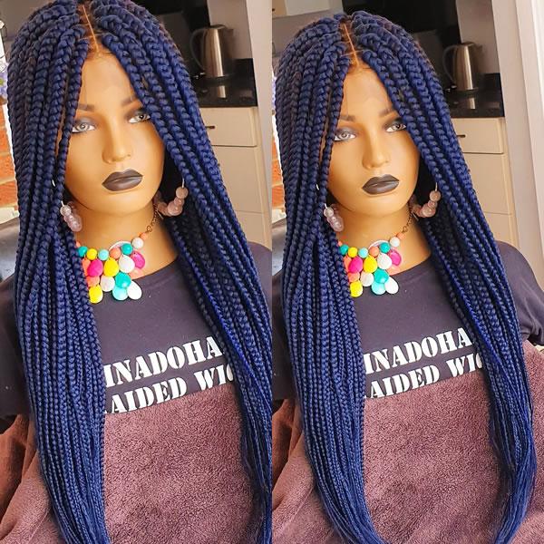 April Medium Box Braided wig, full frontal 13x6, Blue