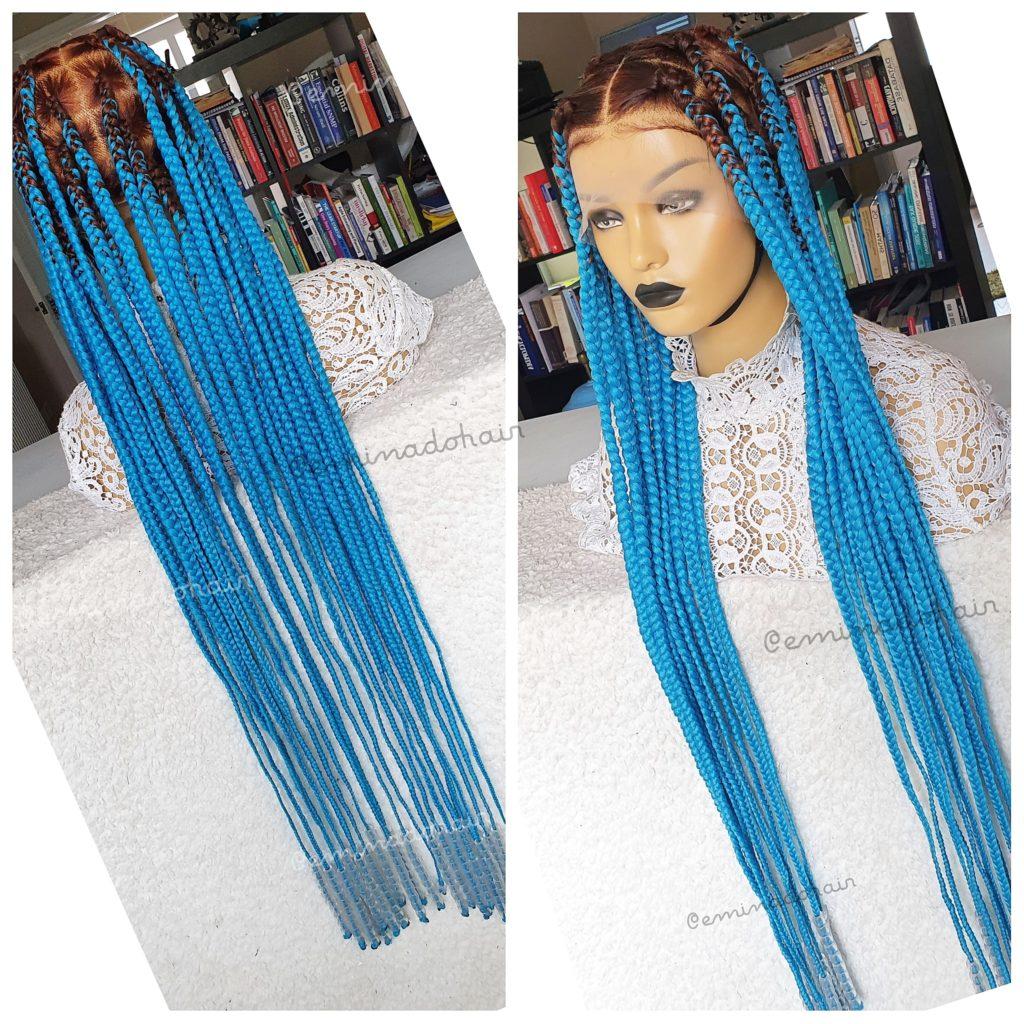 Brill Knotless Box Braids Blue Braided Wigs Store Uk
