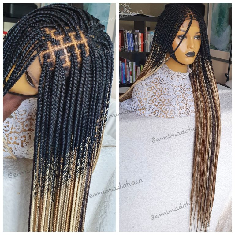 Mixed Ombre Braided Wig, knotless braids (28inches), full lace