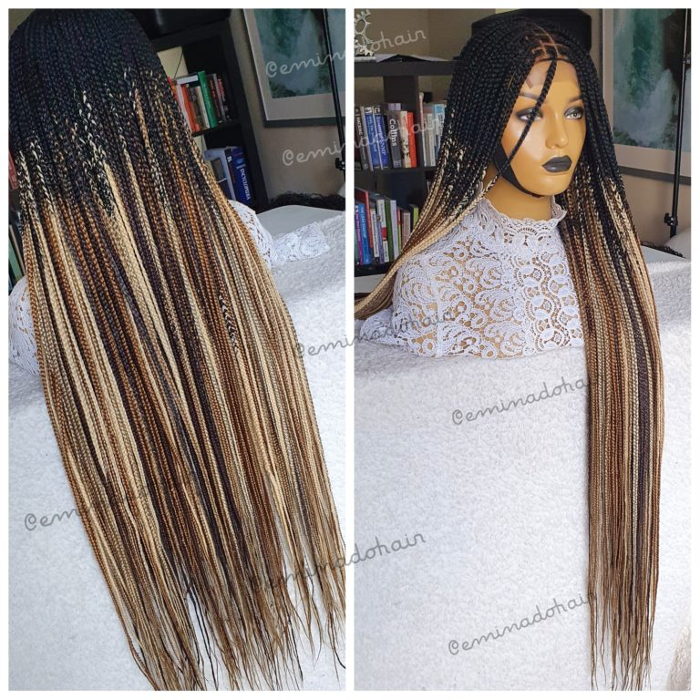 Knotless braids, Closure(Ombre brown mix)