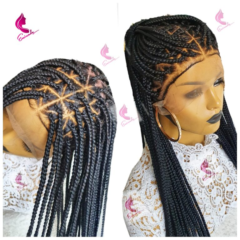 Knotless triangle Full Frontal Braided Wig (28inches)