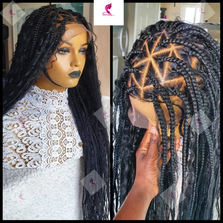 Knotless Boho triangle Full Frontal Braided Wig (28inches)