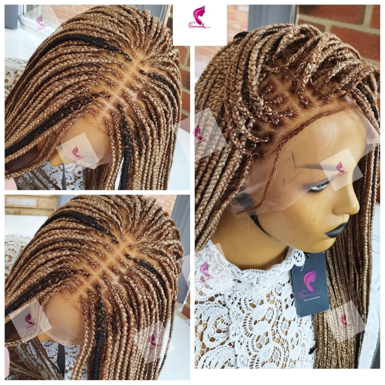 Knotless Box Braids Full Lace, mixed blondes