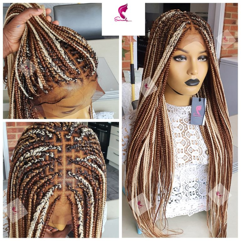 Knotless Box Braids Full Frontal, mixed blondes