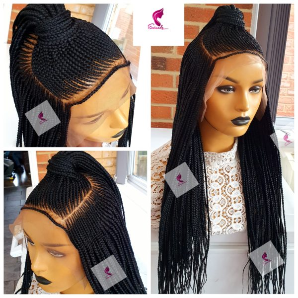 Ket Cornrow full frontal Braided wig black