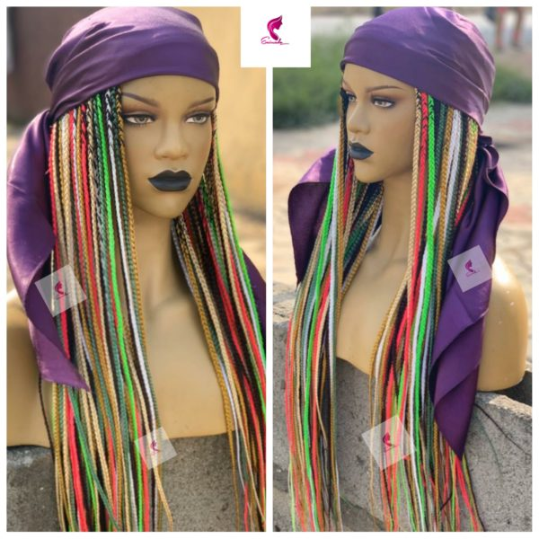 Scarf Colourful box braids Wig (30inches)