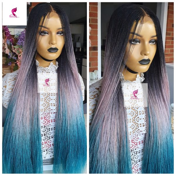 Microscopic Twists, braided wig(Ombre blue)
