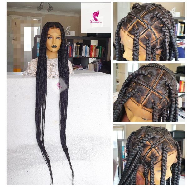Tiffany knotless big box braided wig, Full Lace wig