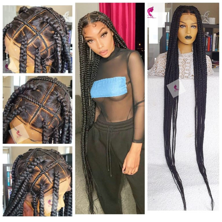 Tiffany knotless big box braided wig, Full Lace wig