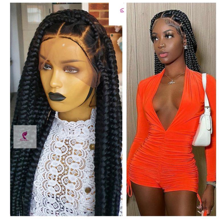 Jade knotless big box braided wig, Full Lace wig