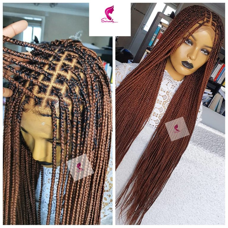 knotless Box Braided wig, full frontal 13x6 RTS, colour 30